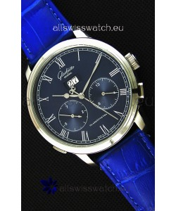 Glashuette Dual Sub Dial Japanese Replica Watch in Blue Dial