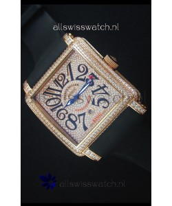Franck Muller Conquistador King Automatic Watch in Pink Gold with Nylon Strap