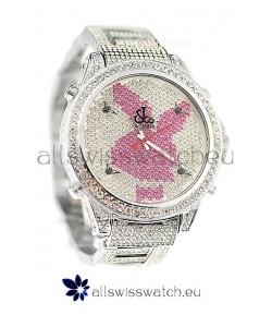 Jacob & Co Diamond Japanese Replica Watch in Pink/White Dial