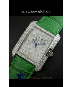 Cartier Tank Anglaise Ladies Replica Watch in Steel/Green Strap
