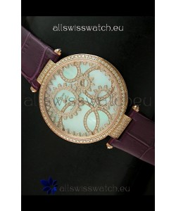 Cartier Replica Watch with Diamonds Embedded Dial Bezel in Gold Case/Maroon Strap