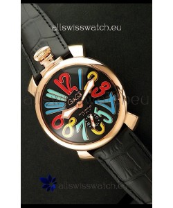 Gaga Milano Italy Japanese Replica Rose Gold Watch in Multi Colour Arabic Markers