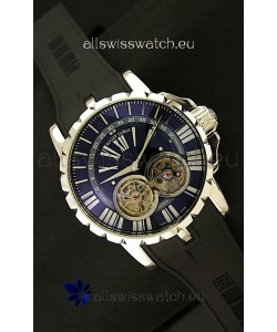 Roger Dubuis Chronoexcel Japanese Replica Automatic Watch in Blue Dial