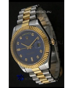 Rolex Day Date Just swissReplica Two Tone Gold Watch in Light Blue Dial