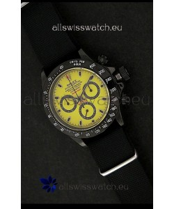 Rolex Daytona Oyster Perpetual Swiss Replica PVD Watch in Yellow Dial