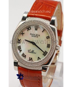 Rolex Cellini Cestello Ladies Swiss Watch in White Pearl Face Diamonds Bezel and Lugs