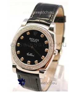 Rolex Cellini Cestello Ladies Swiss Watch in Black Face and Diamond Markers