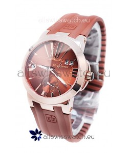 Ulysse Nardin Executive Dual Time Japanese Replica Rose Gold Watch in Brown Dial