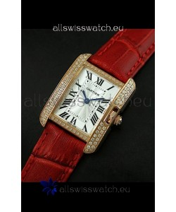 Cartier Louis Japanese Replica Ladies Rose Gold Diamond Watch in Red Strap