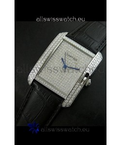 Cartier Tank Anglaise Ladies Replica Watch in Steel/Black Strap