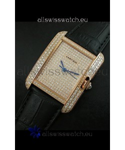 Cartier Tank Anglaise Ladies Replica Watch in Gold Case/Black Strap