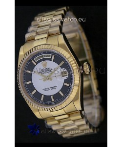 Rolex Day Date Just swissReplica Yellow Gold Watch in Black & White Dial