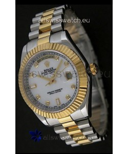 Rolex Day Date Just swissReplica Two Tone Gold Watch in Mop White Dial