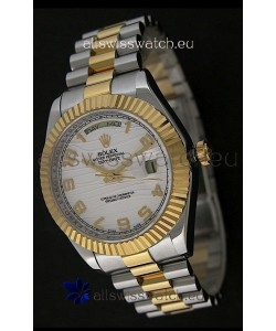 Rolex Day Date Just swissReplica Two Tone Gold Watch in White Stripe Pattern Dial
