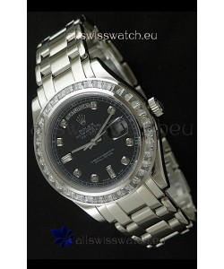 Rolex Oyster Perpetual Day Date Swiss Automatic Watch in Black Dial