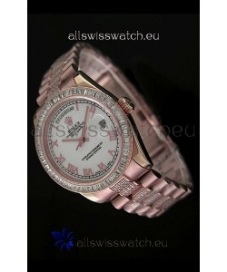 Rolex Oyster Perpetual Day Date Swiss Rose Gold Automatic Watch in Roman Markers